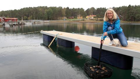 """""""I framtiden har vi kanske restauranger där kockarna bjuder med gästerna till bryggan för att lära dem mer om sjömat och odling"""", säger marinbiologen Maria Bodin. Bild: Susanne Liljenström"""