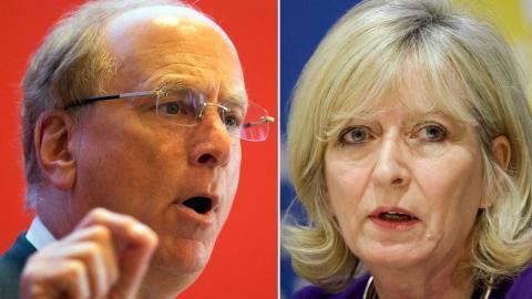Blackrocks vd Laurence Fink och EU-ombudet Emily O'Reilly. Bild: TT/AP/Ng Han Guan,