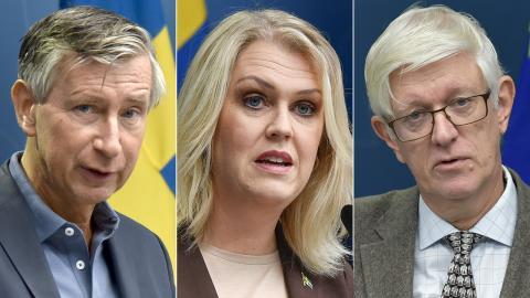 Richard Bergström, vaccinsamordnare / Lena Hallengren, socialminister / Johan Carlson, generaldirektör Folkhälsomyndigheten. Bilder: TT