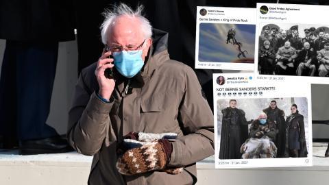 Bilderna på Vermont-senatorn Bernie Sanders gör nätsuccé – kolla in fler exempel här under. Bild: TT/AP/Saul Loeb, Faksimil/Twitter