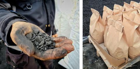 Förutom flis går det bra att använda annan  biomassa som mat eller trädgårdsavfall som grundmaterial för biokol.  Foto: Yvonne Perkins