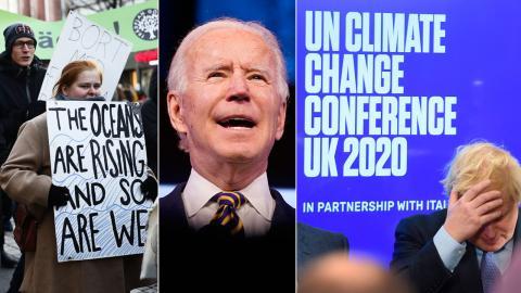 Klimatdemonstranter, Biden och klimatmötet i Glasgow. Ett nytt klimatår har börjat. Bild: TT/AP