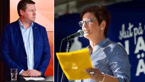 Kommunal-ordföranden Tobias Baudin och Vårdförbundets Sineva Ribeiro deltog i hearingen. Bild: TT