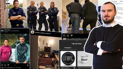 Skärmdumpar från poliskonton på Instagram. Bild: Faksimil