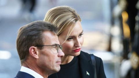 Moderaternas Ulf Kristersson och Kristdemokraternas Ebba Busch är allt öppnare med sina inviter till Sverigedemokraterna.    Bild: Sören Andersson/TT