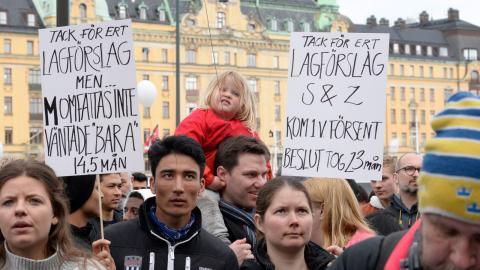 Manifestation för ensamkommande flyktingbarn och unga i Stockholm i april 2018, med kravet att få stopp på utvisningar Foto: Anna Karolina Eriksson/TT