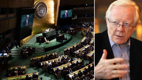 USA:s president Donald Trump talar vid öppnandet av FN:s generalförsamling i New York 2019. Bild: Pontus Lundahl/TT