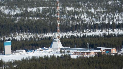 Raketuppskjutningsplatsen på Esrange. På SSC, Swedish Space Corporations rymdbas Esrange skjuts mindre raketer ut i rymden med vetenskapliga experiment ombord. På basen sänds även vetenskapliga ballonger upp.  Foto: Fredrik Sandberg/TT