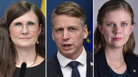 Märta Stenevi (MP), Per Bolund (MP) och Emma Berginger (MP) Anders Wiklund/TT, Henrik Montgomery/TT