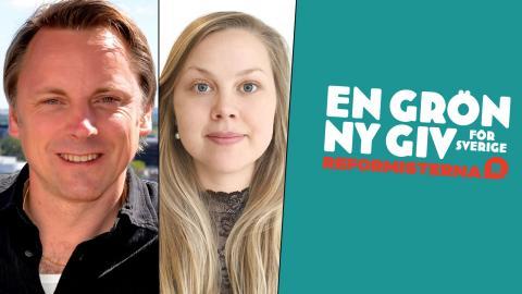 """I rapporten """"En grön ny giv för  Sverige"""" visar Reformisterna hur  landet kan bli klimatneutralt på 15 år. Jens Ergon och Annie Ross. Bild: Privat, Faksimil"""