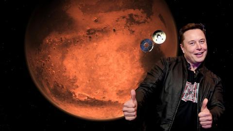 Nasas rover Perseverance på vägen mot Mars. Bilden är ett montage.  Bild: TT och shutterstock