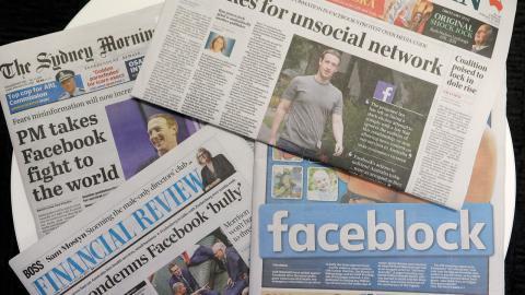 I mitten av februari blockerade  Facebook länkar till nyhetsartiklar från australiska medier.  Bild: Rick Rycroft/AP