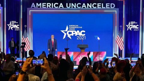 """Temat för årets konferens var """"America uncanceled"""".  Bild: John Raoux/TT/AP"""
