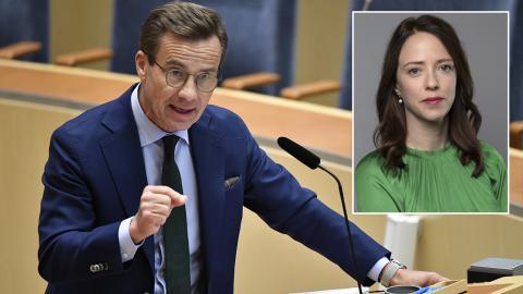 Ulf Kristersson (M) menar att varningar för SD kan leda till en problematisk polarisering i samhället. När blev det ovärdigt att varna för ett nationalistiskt parti på den extrema högerkanten, undrar Åsa Lindhagen (MP). Henrik Montgomery/TT. Kristian Pohl.