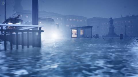 Visualisering av Gustaf Adolfs torg vid en storm då havet stiger och vattnet tränger in i kanalen och upp över torget om 100 år då medelhavsnivån kan ha höjts med en meter. Bild: Göteborgs stad