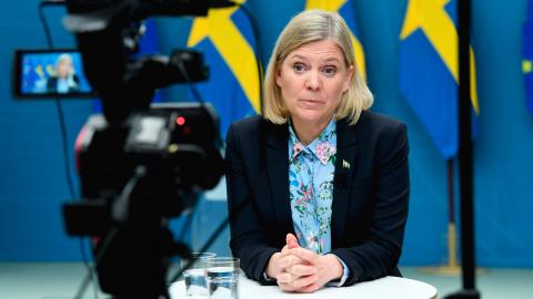 Finansminister Magdalena Andersson presenterar vårbudgeten vid en digital pressträff i Rosenbad.   Bild: Fredrik Sandberg/TT