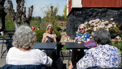 Före pandemin var de en större grupp som sågs men nu håller de sig till kärngänget, som de kallar sig.  Bild: Zanna Nordqvist