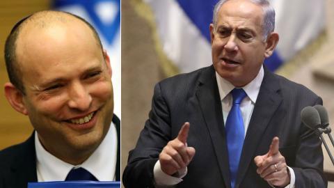 Naftali Bennet (t.v.) blir ny premiäminister efter Benjamin Netanyahu. Bild: TT/AP/Ariel Schalit