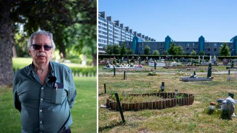 Göran Cajhagen är inte nöjd över att muslimer begravs på samma kyrkogård som hans familj.  Bild: Zanna Nordqvist