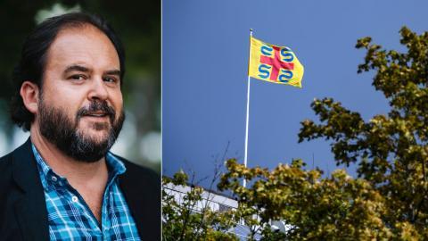 """Sölvesborg är en av de kommuner där Sverigedemokraterna fått stort inflytande. Hösten 2019 förbjöd partiet, tillsammans med Moderaterna och Kristdemokraterna, hissandet av Pride-flaggan på stadshuset, då de ansåg att den var """"politiserad"""". Bild: Johan Nilsson/TT"""