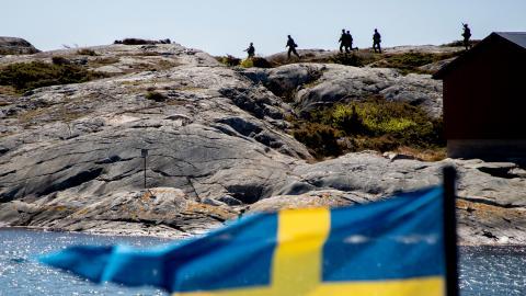 Militärövningen Swenex 20 som bland annat hålls i Göteborgs skärgård 2020, där 1:a Amfibieregementet i Göteborg deltog med stridsbåt 90 och stridande markpersonal.  Bild: Adam Ihse/TT