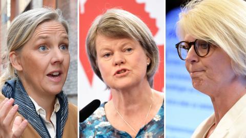 Karolina Skog (MP), Ulla Andersson (V) och Elisabeth Svantesson (M).  Bilder: TT