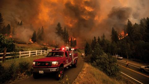Brandmän kämpar mot Tamarack-branden i kaliforniska Markleeville.  Bild: Noah Berger/AP
