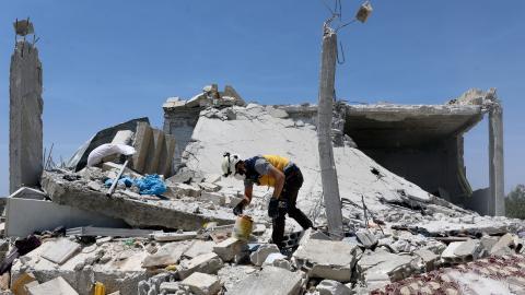 Idlibområdet är den sista oppositionskontrollerade enklaven i Syrien och har varit föremål för omfattande attacker, förstörelse och strider. Bild: Ghaith Al-Sayed/TT/AP