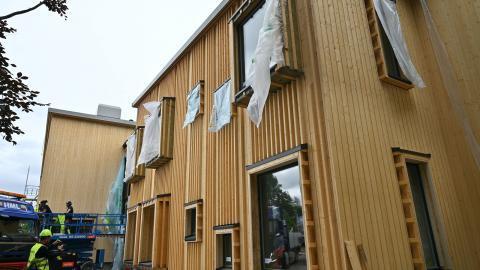 Förskolan Hoppet i Göteborg byggs så fossilfritt som möjligt. Dessutom återanvänds gamla material. Bild: Göteborgs stad