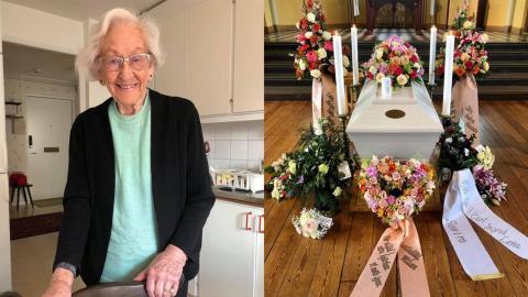 Bild på Karin Wigertz mars 2020 och från hennes begravning i maj samma år. Bild: Privat