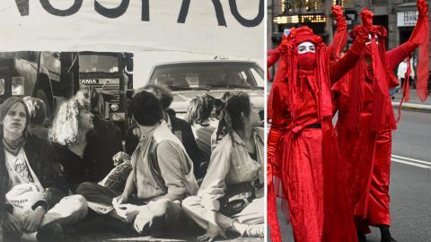 Kulturkrocksaktion i Stockholm i början av 1990-talet, Extinction Rebellion stoppar trafiken i en aktion år 2020.  Privat, Henrik Montgomery/TT